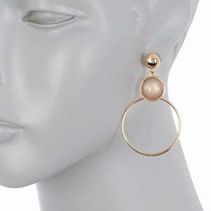 Halogen Gold Hoop Stone Earrings NEW